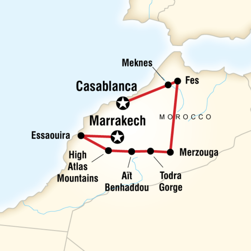 G Adventures Highlights of Morocco Map