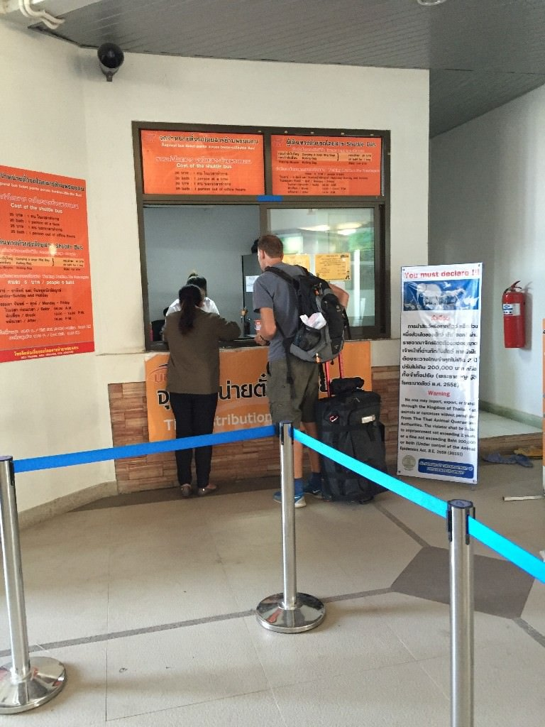 Ticket office for 25 Bhat bus from Thai Border to Laos Border